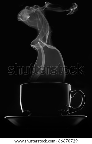 Black cup of coffee with steam on black background. - stock photo