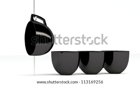 Black cups in stack, isolated, on white background
