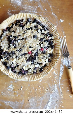 Black currant and almond pie before baking, selective focus - stock photo