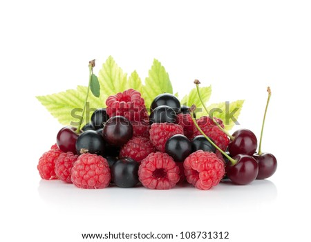 Black currant, raspberry and cherry.  Isolated on white background - stock photo