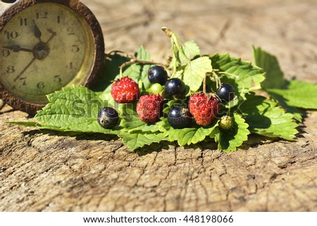 Black currant, Wild strawberry and clock on wood with leaf - stock photo