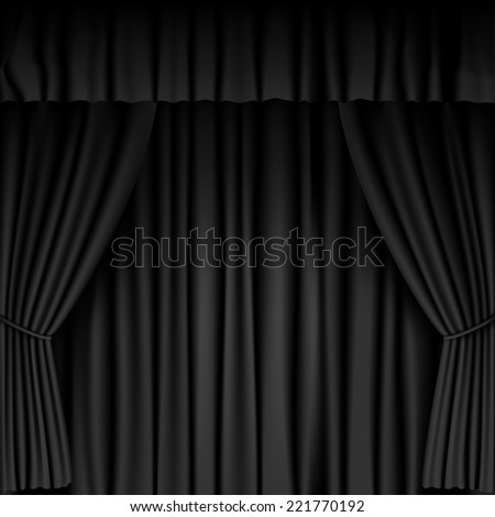black curtain background - stock photo