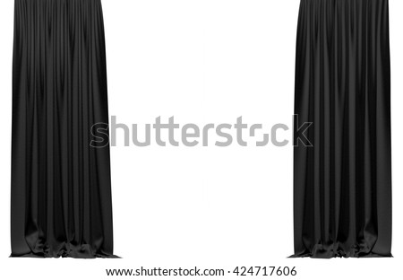 Black curtain isolated on white background. Include clipping path. 3D illustration - stock photo