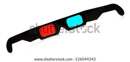black 3d eyeglasses isolated on white background - stock photo