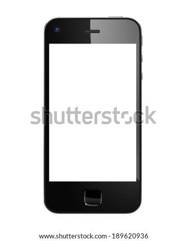 Black 3D Mobile Phone. - stock photo