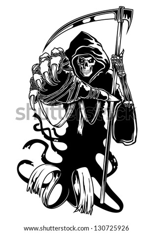 Black death with scythe for halloween or horror concept. Vector version also available in gallery - stock photo