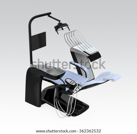 Black dentist chair  isolated on gray background. Clipping path available. Original design. - stock photo