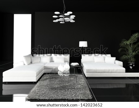 Black Design Living Room Interior with white couch - stock photo