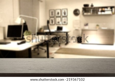 black desk and office place  - stock photo