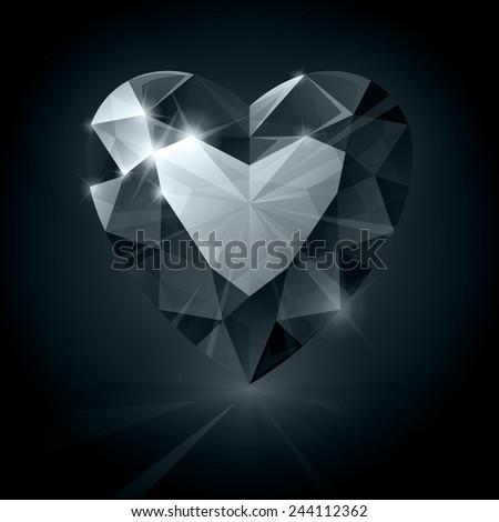 Black diamond heart shape illustration - stock photo
