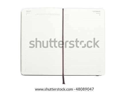 Black Diary isolated on a white background - stock photo
