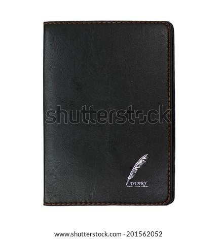 black diary on white background  - stock photo