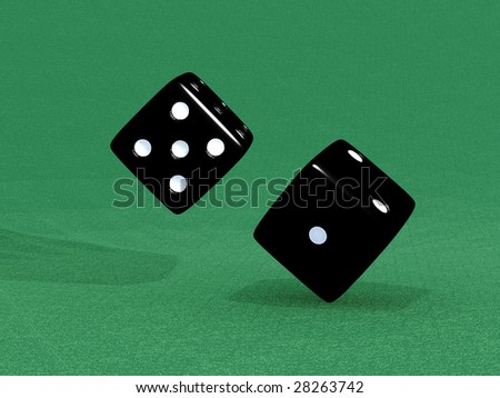 Black dice for different games - stock photo