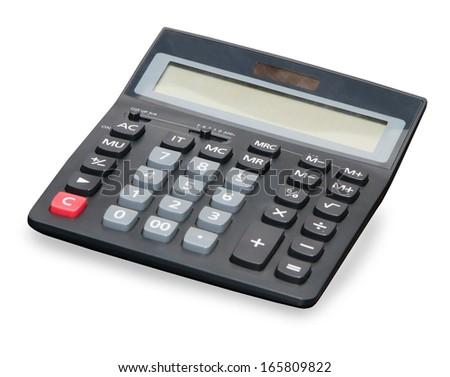 Black digital calculator close up over white - stock photo