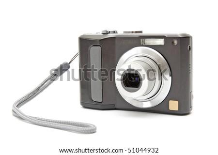 Black digital camera isolated on white - stock photo