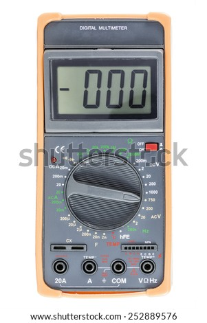 Black Digital Multimeter with orange bumper on white, front view - stock photo