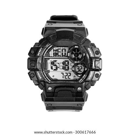 black digital watch on a white background - stock photo