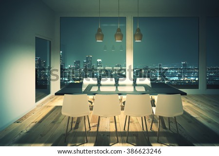Black dining table with white chairs in loft interior design room and night city view. 3D Render  - stock photo