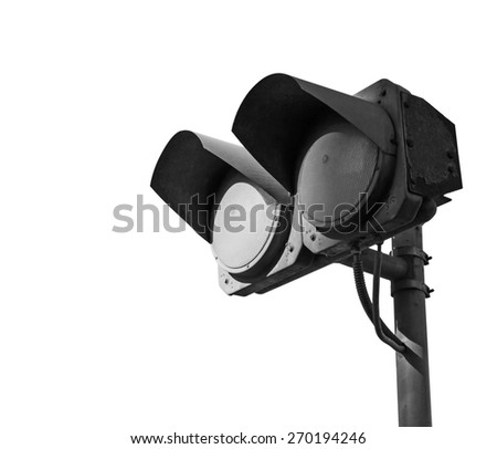 Black dirty double traffic lights switched off isolated on white