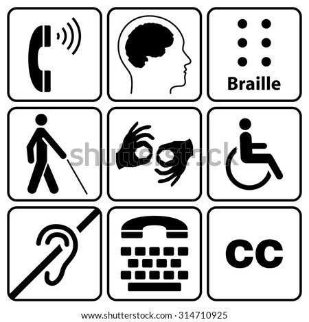 Black Disability Symbols Signs Collection May Stock