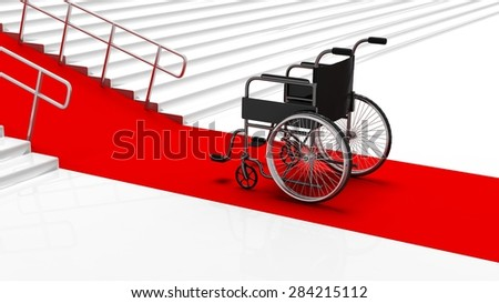 Black disability wheelchair in front white stairs with red carpet - stock photo