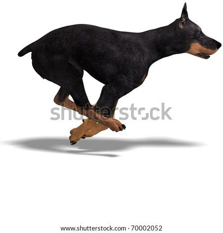 Black Doberman Dog. 3D rendering with clipping path and shadow over white - stock photo
