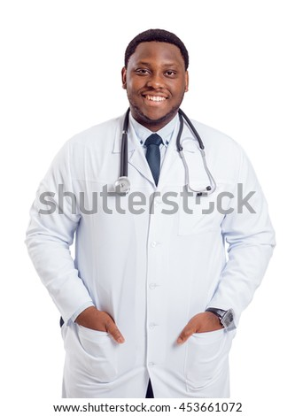 Black doctor on white background. With clipping path.