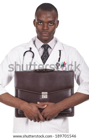 black doctor with briefcase in hand - stock photo