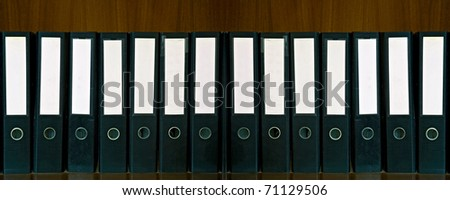 black document Folders and blank label - stock photo