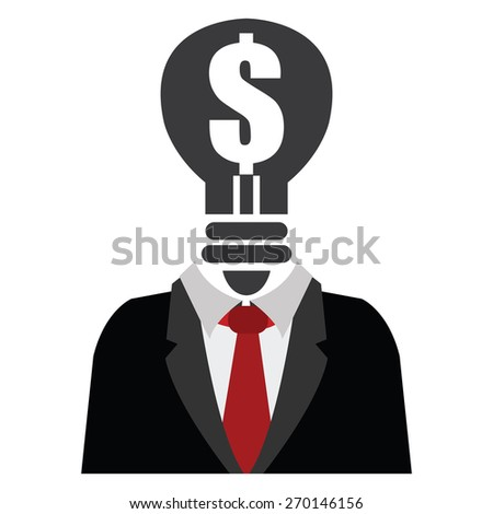 Black Dollar Sign Light Bulb Head Businessman Isolated on White Background - stock photo