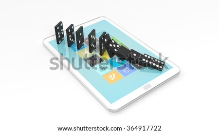Black domino tiles falling in a row on tablet screen, isolated on white - stock photo