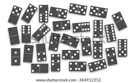 Black domino tiles set, isolated on white background - stock photo
