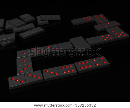 Black dominoes on black reflection surface - stock photo