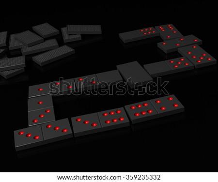 Black dominoes on black reflection surface - stock photo