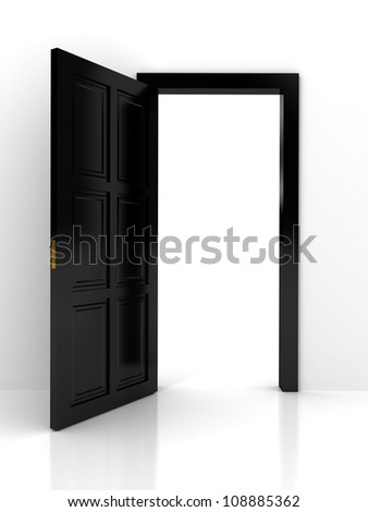 Black door over white background. computer generated image - stock photo