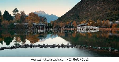 Black Dragon pool in Lijiang, Yunnan, China. - stock photo