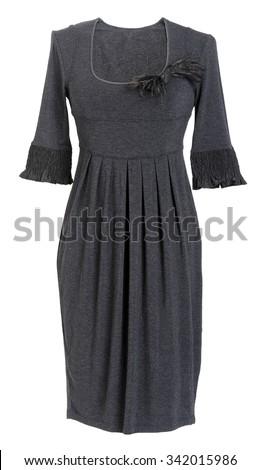 black dress isolated on white - stock photo