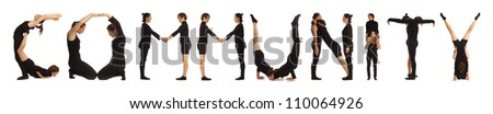 Black dressed people forming COMMUNITY word over white - stock photo