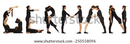 Black dressed people forming GERMAN word over white - stock photo