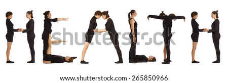 Black dressed people forming HEALTH word over white