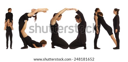 Black dressed people forming ICON word over white - stock photo