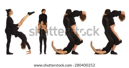 Black dressed people forming KISS word over white