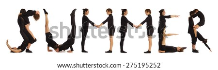 Black dressed people forming SUMMER word over white - stock photo