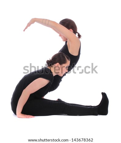 Black dressed people forming two 2 number over white - stock photo