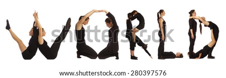 Black dressed people forming WORLD word over white - stock photo