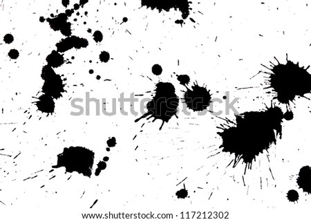 Black drop ink splatter. Gloss brush paint spot, grunge blot, art blob, oil, abstract droplet. Splat, liquid illustration.