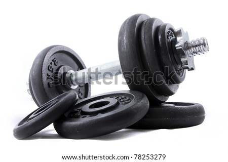 Black dumb-bell for sport on white background - stock photo