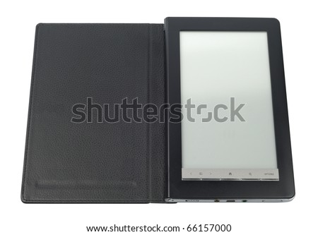 Black E-Book pc with case isolated over white background. Clipping path included. - stock photo