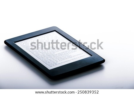 black ebook reader or tablet on white background - stock photo