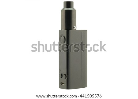 black electric cigarette on white background. - stock photo